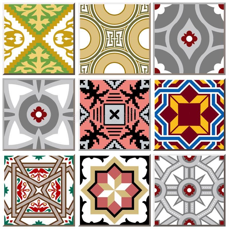 Des Retro- gesetzte Sammlung 003 Keramikziegel-Musters der Weinlese vektor abbildung