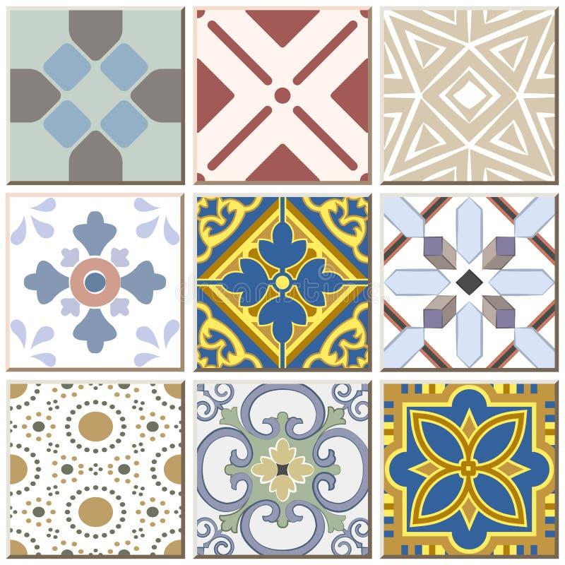 Des Retro- gesetzte Sammlung 039 Keramikziegel-Musters der Weinlese lizenzfreie abbildung