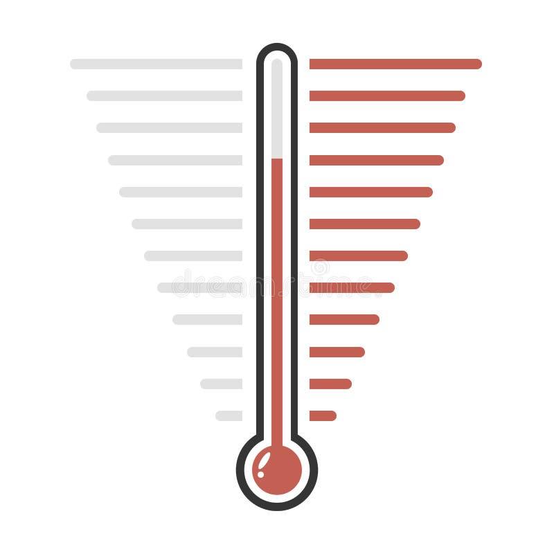 Des roten flaches Design Ziel-Vektors des Thermometers lizenzfreie abbildung