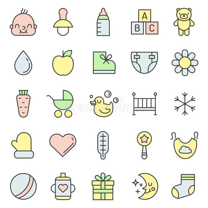 Des Sachenentwurfs des Babys (Mädchen und Junge) Ikonen-Vektorsatz mehrfarbiger netter Minimalistic-Design stock abbildung