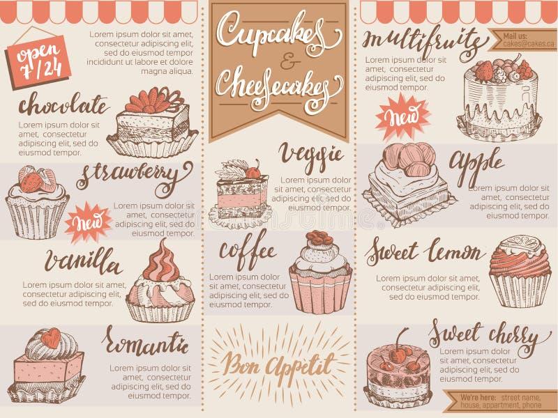Des Schablonenschokoladenkleinen kuchens des Menünachtischvektorcaféentwurfs süßer Nahrungsmittelkeks und Käsekuchen in der Resta stock abbildung