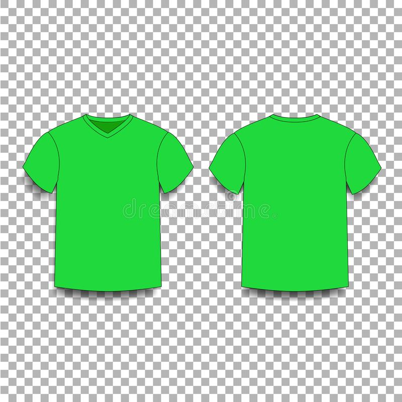 Des Schablonenvhalses T-Shirt ` s der unerfahrenen Mitarbeiter Ansichten der vorderen und Rückseite lizenzfreie abbildung