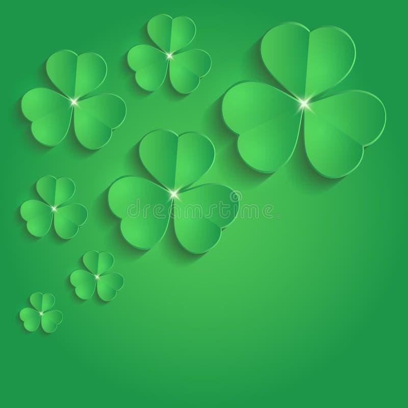 Des Shamrock-Papiers 3D St. Patrick Day Grün stock abbildung