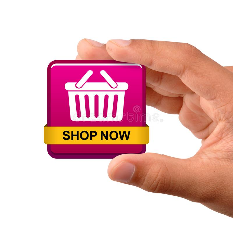 Des Shops Ikonenknopf jetzt lizenzfreie stockfotos