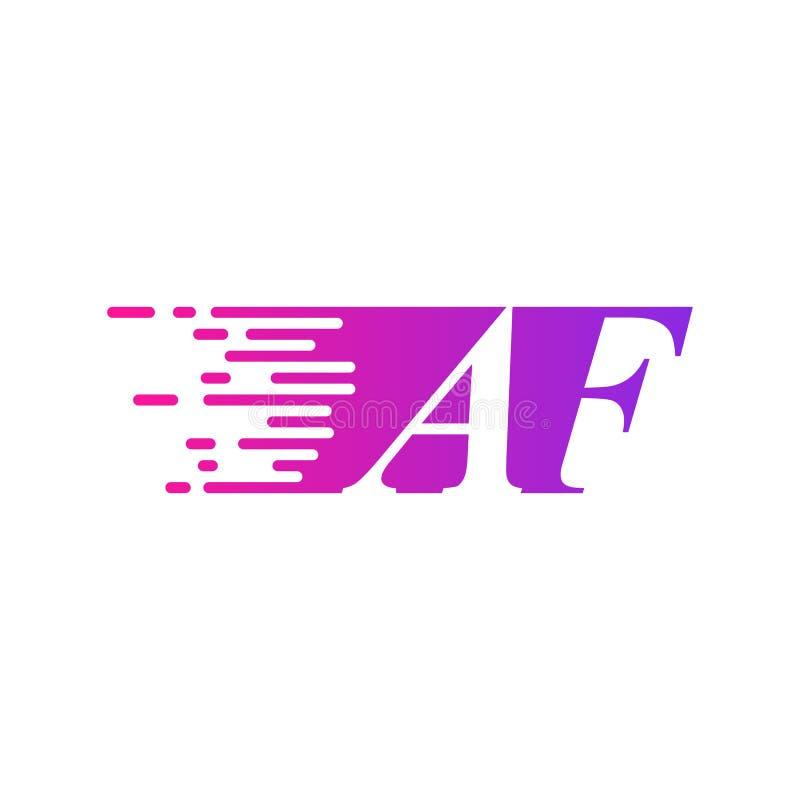 Des sich schnell bewegenden purpurrote rosa Farbe Logo-Vektors Anfangsbuchstabe AF stock abbildung