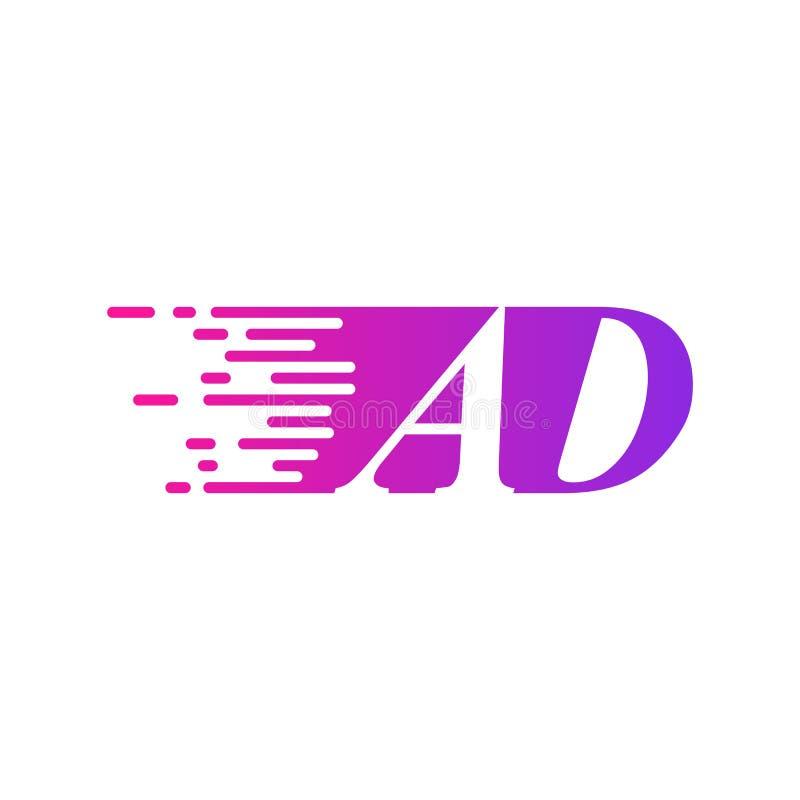 Des sich schnell bewegenden purpurrote rosa Farbe Logo-Vektors Anfangsbuchstabe ANZEIGE stock abbildung