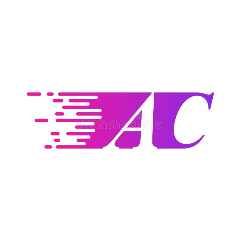 Des sich schnell bewegenden purpurrote rosa Farbe Logo-Vektors Anfangsbuchstabe Wechselstroms vektor abbildung
