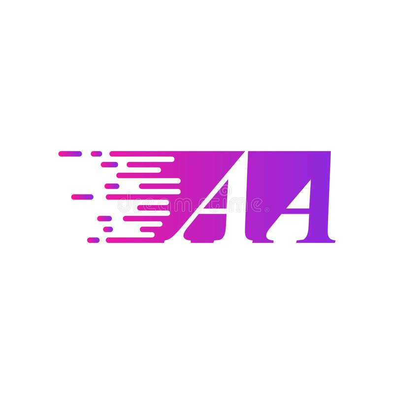 Des sich schnell bewegenden purpurrote rosa Farbe Logovektors des Anfangsbuchstaben AA vektor abbildung