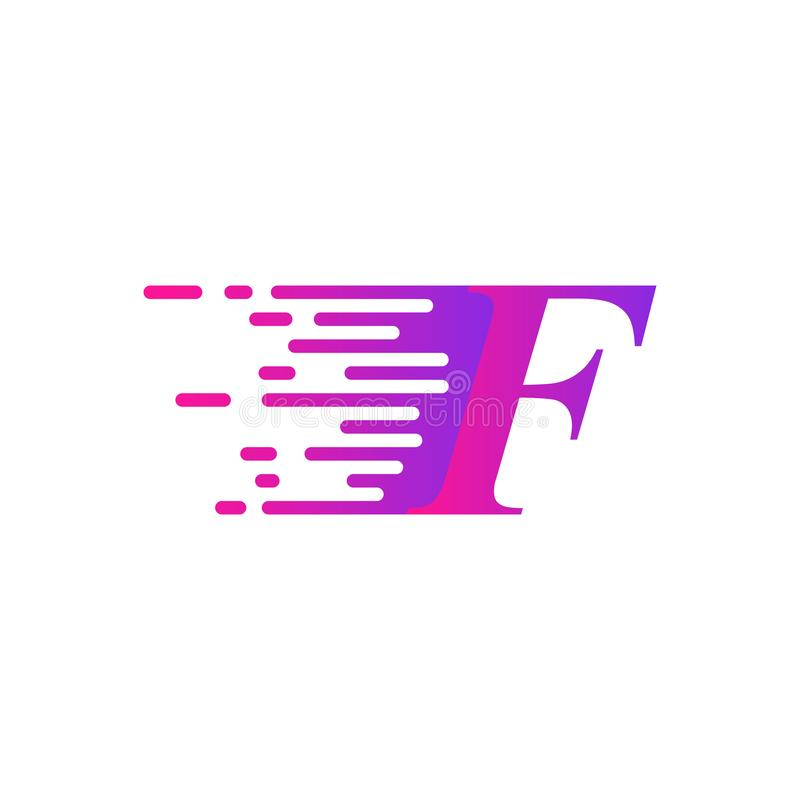 Des sich schnell bewegenden purpurrote rosa Farbe Logovektors des Anfangsbuchstaben f vektor abbildung