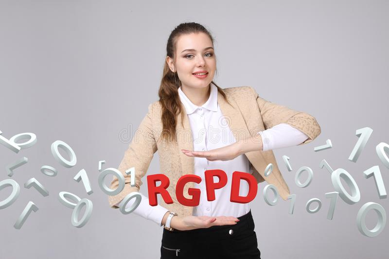 Des Spanischen, französischer und italienischer Versionsversion RGPD, von GDPR: De-datos Reglamento General de Proteccion Allgeme stockfotografie