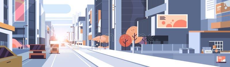 Des st?dtischen Stadtbildhintergrund-Stadtlebenkonzept der Ansicht Stra?enwolkenkratzers des Autofahrenstra?enverkehrs errichtend stock abbildung