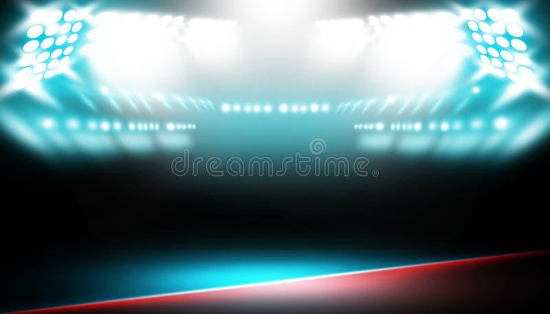 Des Stadiumskampfes und -matches des Scheinwerfers boxender roter und blauer Hintergrund stockfoto