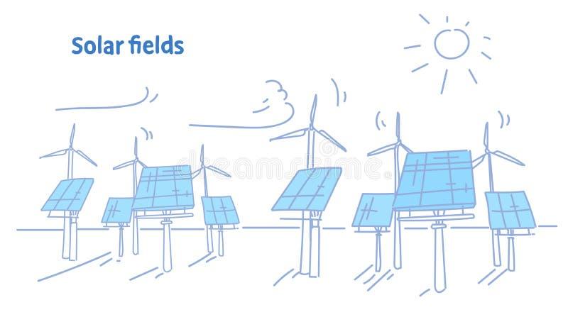 Des Stromquellkonzeptes der auswechselbaren Station der Windkraftanlagesolarenergieplattenfelder alternativer photo-voltaischer B vektor abbildung