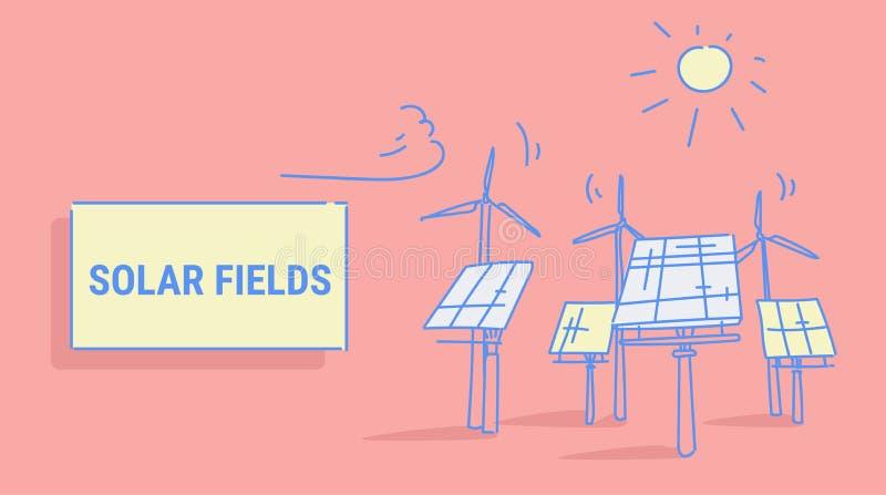 Des Stromquellkonzeptes der auswechselbaren Station der Windkraftanlagesolarenergieplattenfelder alternativer photo-voltaischer B lizenzfreie abbildung