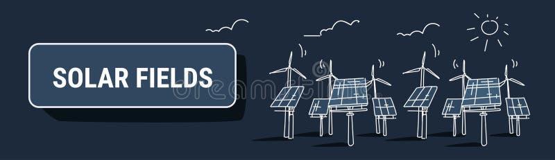 Des Stromquellkonzeptes der auswechselbaren Station der Windkraftanlagesolarenergieplattenfelder alternativer photo-voltaischer B stock abbildung