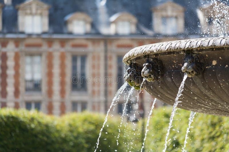 des szczegółu fontanny Paris miejsce Vosges obraz royalty free