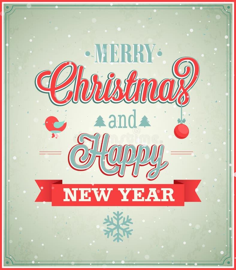 DES tipográfico de la Feliz Navidad y de la Feliz Año Nuevo libre illustration