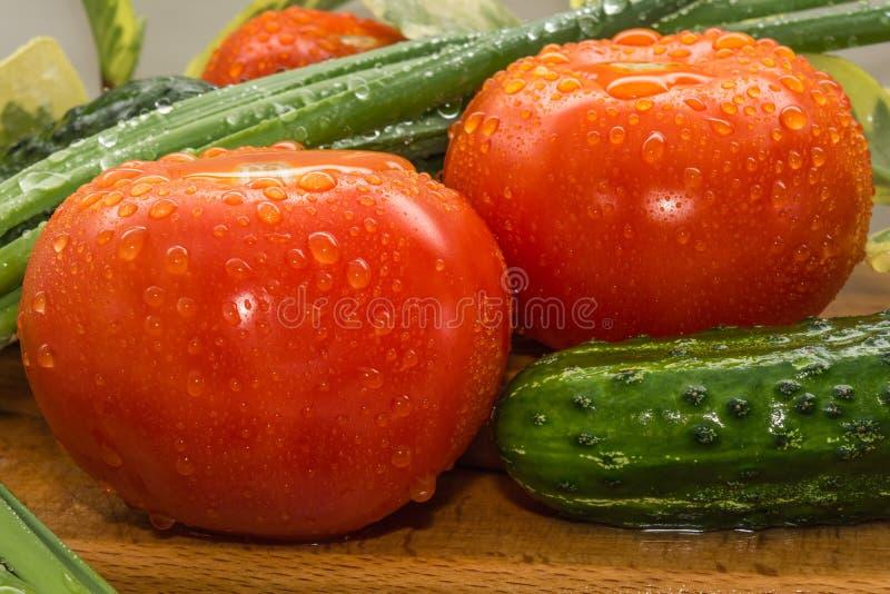 Des tomates rouges mûres, concombres verts, des plumes d'oignon vert sont couvertes de grandes gouttes de l'eau, composition sur  images stock