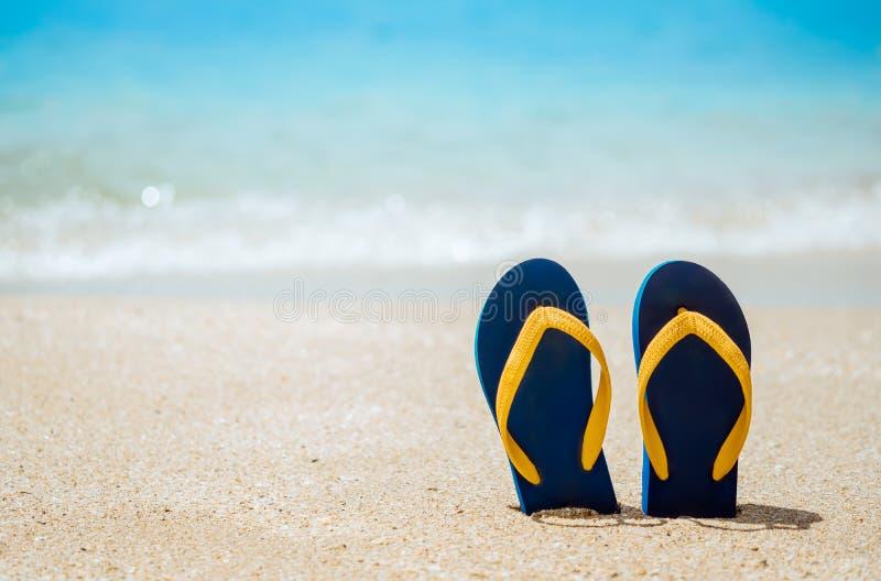 Des tongs sur la plage de sable blanc photographie stock libre de droits