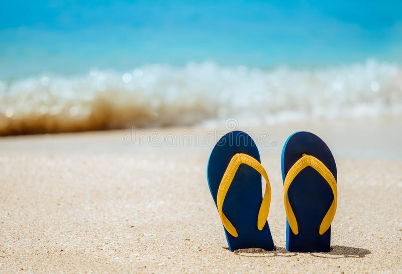 Des tongs sur la plage de sable blanc image stock