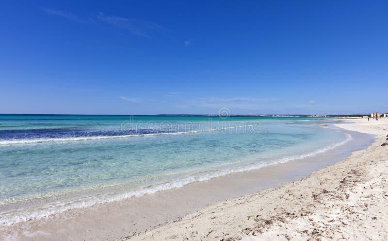 des Trenc海滩在马略卡海岛的在地中海 免版税库存照片