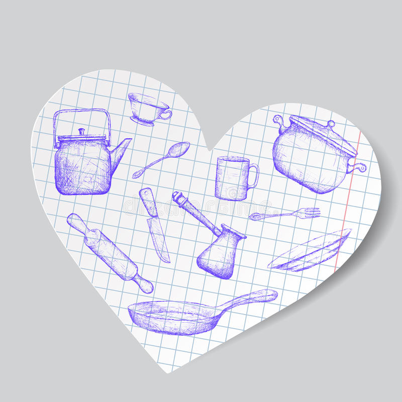 Des ustensiles de cuisine est dessinés sur un coeur de papier Image de griffonnage barre illustration stock