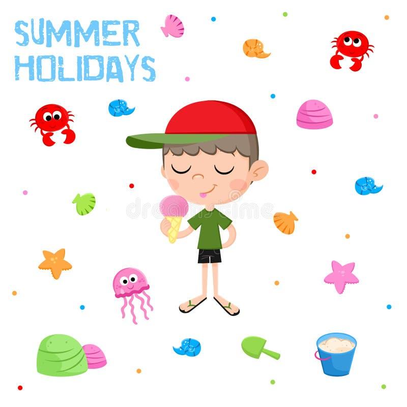 Des vacances d'été - petit garçon et crème glacée - l'autocollant adorable a placé - échouez les éléments de partie illustration stock