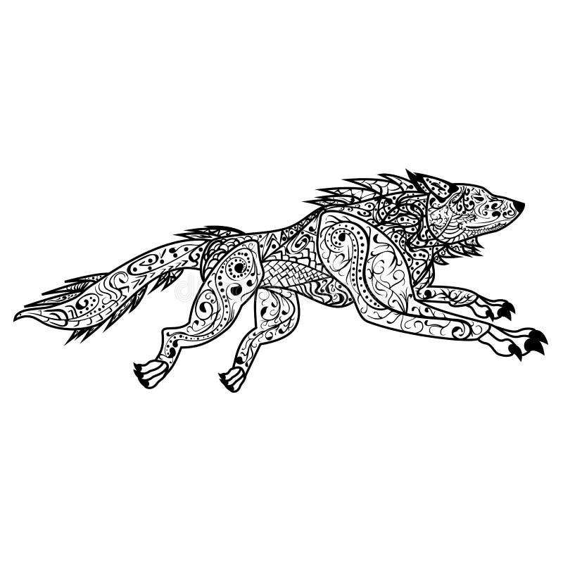 Des Vektorgekritzels Zentangle Hand gezeichnete aufwändige Illustration Hunde stock abbildung