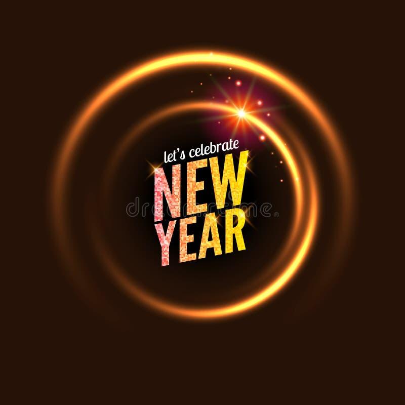 des Vektorhintergrundes des neuen Jahres 2017 glühender Kreisrahmen Helle abstrakte Tapete Guten Rutsch ins Neue Jahr-Feier-Einla stock abbildung