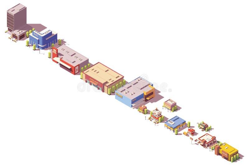 Des Vektors isometrische Polyspeicher und Restaurants niedrig stock abbildung