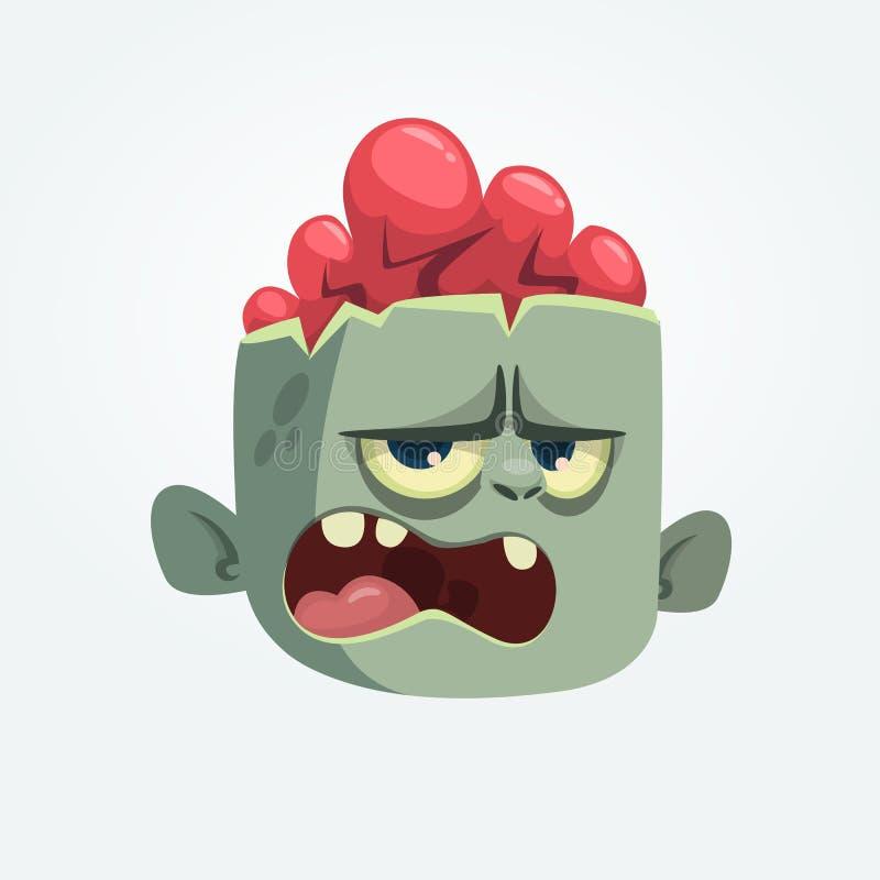 Des verärgerten schreiender Ausdruck Zombie-Kopfes der Karikatur Glückliches Halloween lizenzfreie abbildung