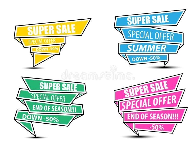 Des Verkaufsrabattes des Sammlungsverkaufssuperverkaufs große glänzende Fahnen-Superangebot lizenzfreie abbildung