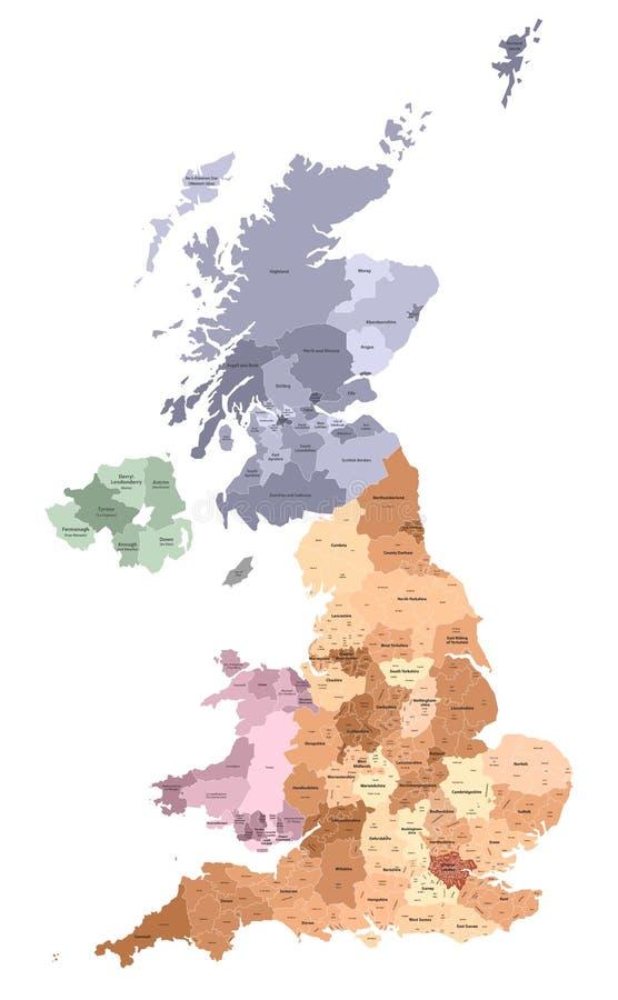 Des Verwaltungsbezirk-Vektors Vereinigten Königreichs hohe ausführliche Karte gefärbt durch Regionen und Grafschaften lizenzfreie abbildung