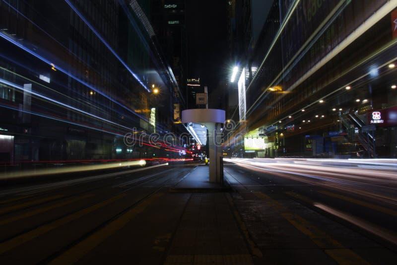 Des Voeux Drogowa centrala nocą w HK zdjęcie stock