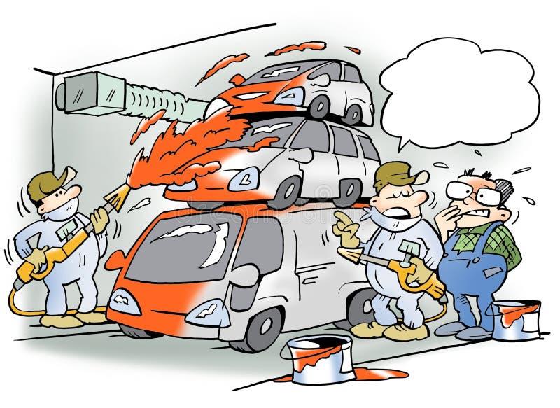 Des voitures sont peintes sur la chaîne de montage illustration de vecteur