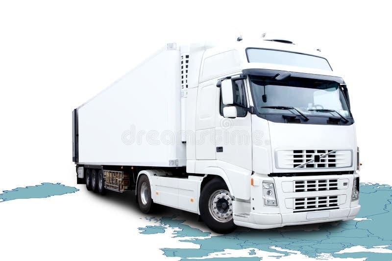 Des Weiß LKW halb lizenzfreie stockbilder