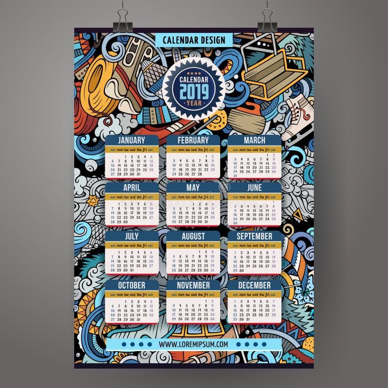 Des Winter-Sports Gekritzel der Karikatur bunte Handgezogener 2019-jähriger Kalender lizenzfreie abbildung