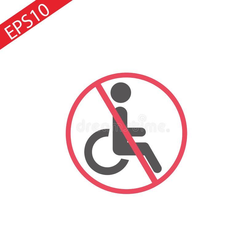 Desabilitou assinam dentro o círculo vermelho no fundo branco Ícone da pessoa deficiente isolado no fundo branco Não, proibição o ilustração royalty free