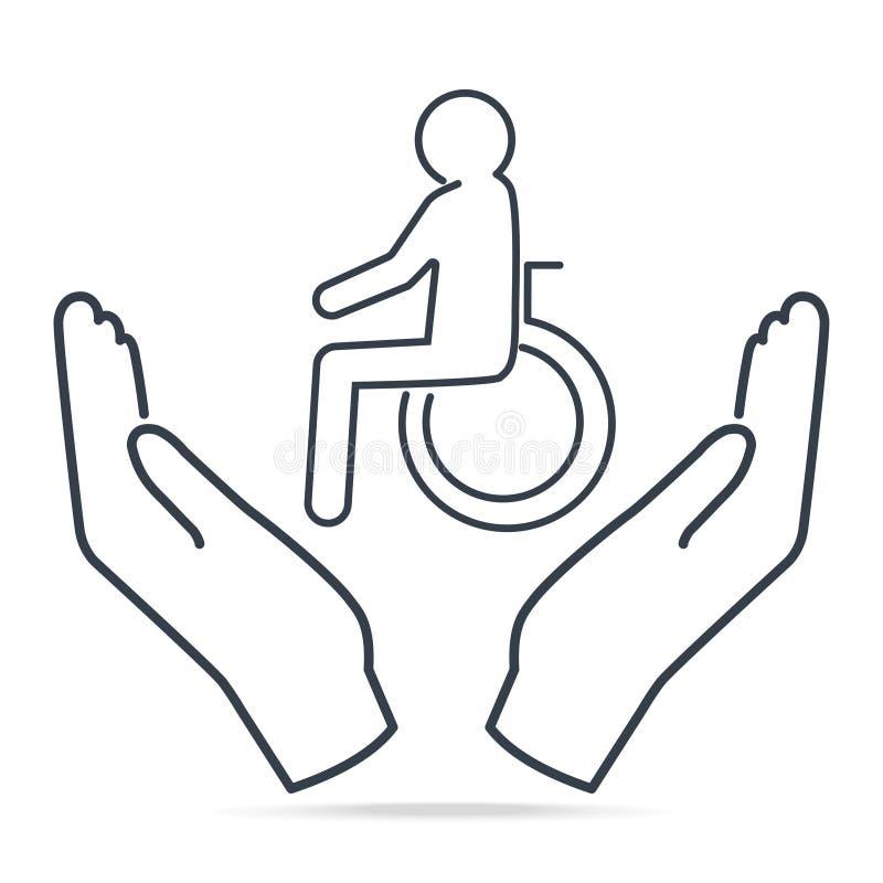 Desabilitou nas mãos ícone, paciente do homem na linha simples ícone das mãos ilustração royalty free