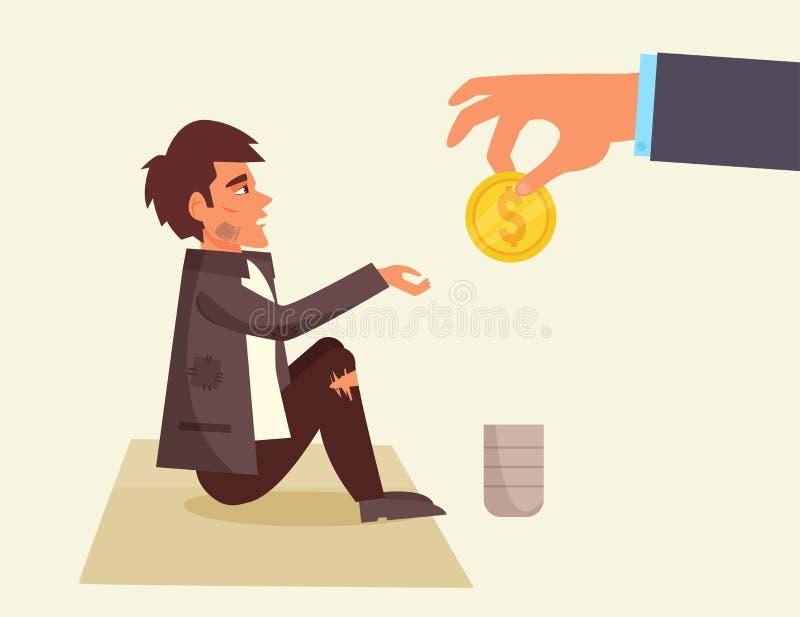desabrigado Mão com a moeda ilustração stock