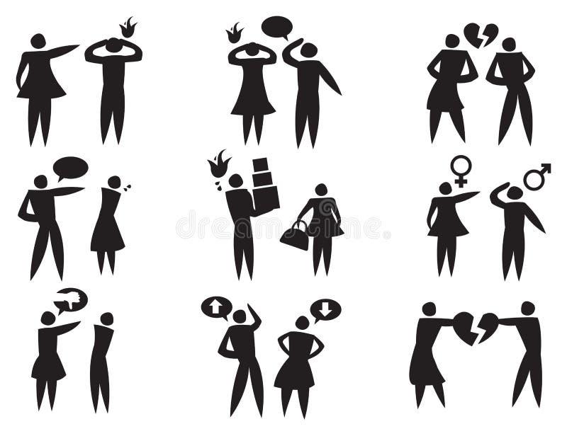 Desacordo entre a mulher do homem no grupo do ícone do vetor dos relacionamentos ilustração stock