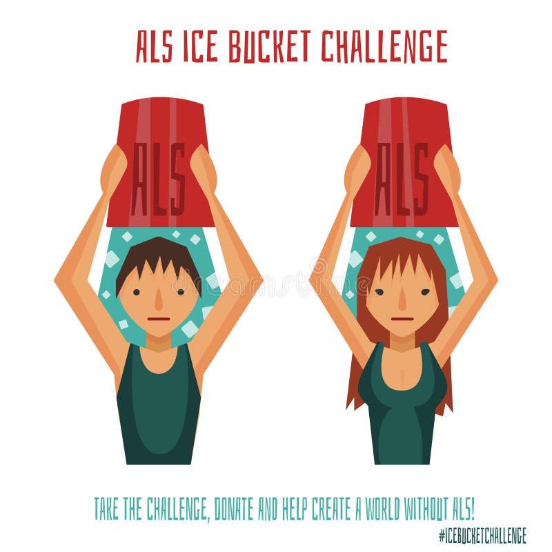Desafío del cubo de hielo del ALS ilustración del vector