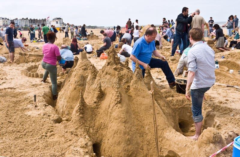 Desafio anual do castelo de areia de RIBA em Margate, Reino Unido imagens de stock