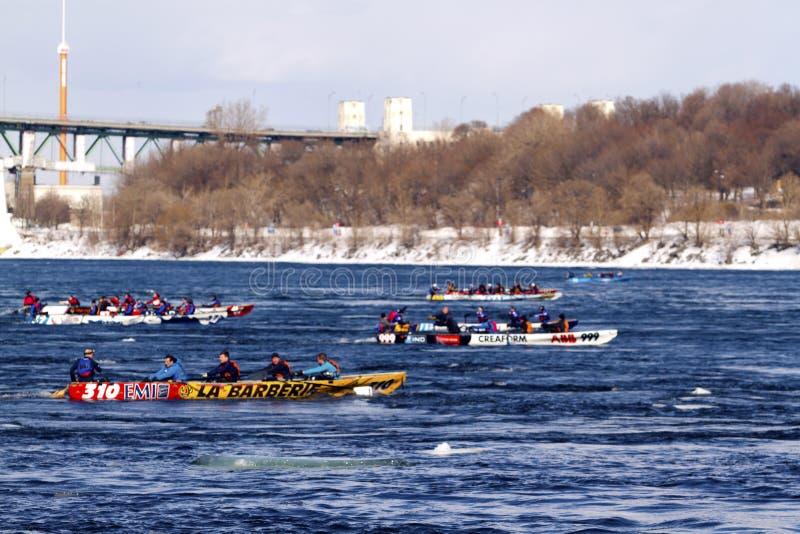 Desafio Bota Bota Montreal da canoa do gelo imagens de stock