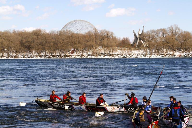 Desafio Bota Bota Montreal da canoa do gelo fotos de stock royalty free