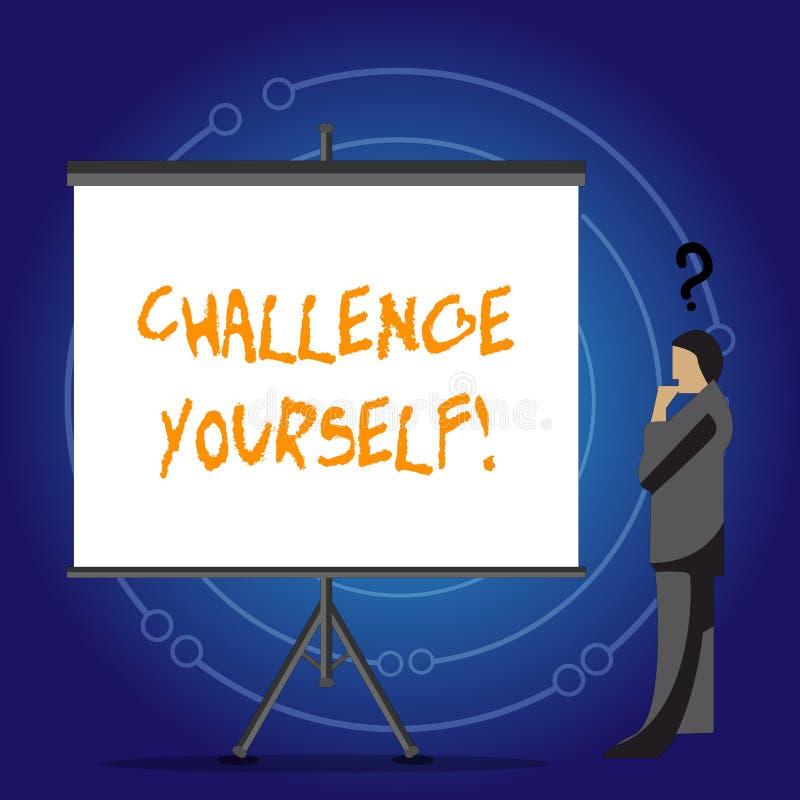 Desafio conceptual você mesmo da exibição da escrita da mão Foto do negócio que apresenta a melhoria forte superada do incentivo  ilustração do vetor