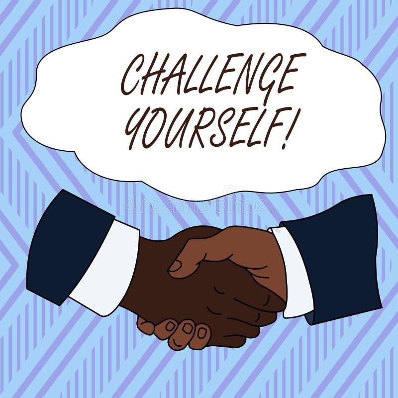 Desafio conceptual voc? mesmo da exibi??o da escrita da m?o A foto do negócio que apresenta ajustando uns padrões mais altos apon ilustração do vetor