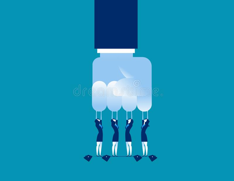 desafio Grande negócio pequeno do desafio Ilustração do vetor do negócio do conceito ilustração royalty free