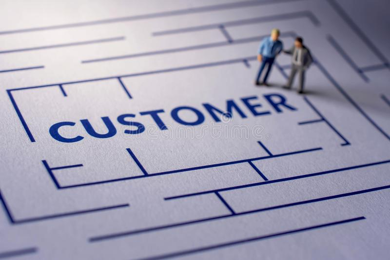Desafio para o conceito da experiência do cliente presente pela miniatura foto de stock royalty free