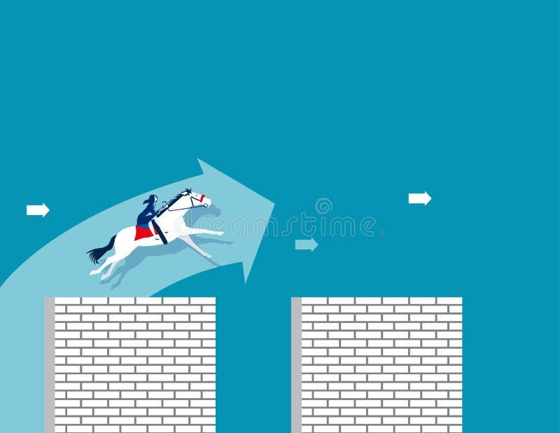 desafio Passeio da mulher de negócios um cavalo e para saltar uma parede transversal Ilustração do vetor do negócio do conceito ilustração stock